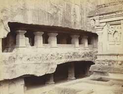 [Façade of the Lankeshvara Shrine from the terrace, Kailasanatha Cave Temple (Cave XVI), Ellora.]